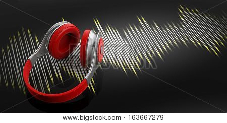 3D Rendering Headphones And Sound Wave On Black Background
