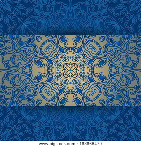 Illustration of greeting or invitation card template with abstract lacy ornament in blue and gold colors