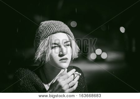 Portrait Of A Girl With A Cigarette. Young Beautiful Girl With Dyed Hair Hipster Hat. Cigarette Smok