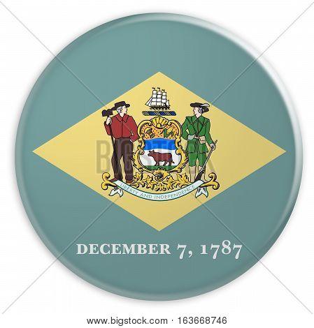 US State Button: Delaware Flag Badge 3d illustration on white background