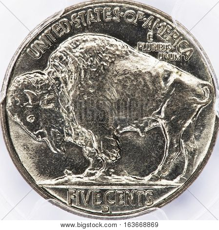 Old antique buffalo nickle made in America.