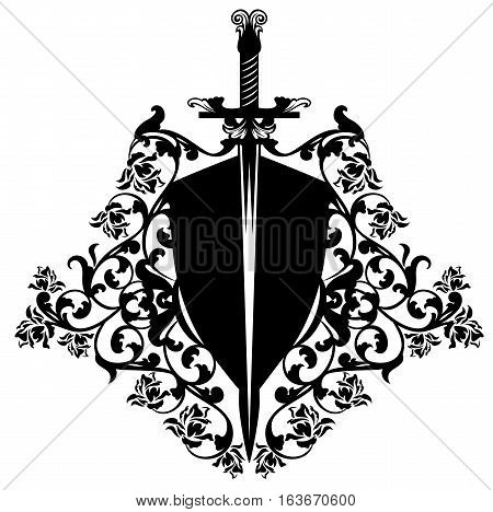 heraldic shield and sword among rose flowers - black and white vector design