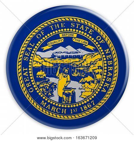 US State Button: Nebraska Flag Badge 3d illustration on white background