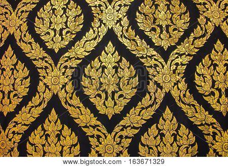 Golden Thai Traditional Art Flower (Lai Thai) Handmade Background and Wallpaper