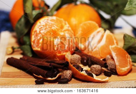 Oranges and cinnamon Christmas mood happy new year