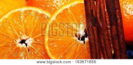 Oranges and cinnamon Christmas mood happy new year