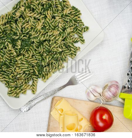 tasty pasta with spinach - top view