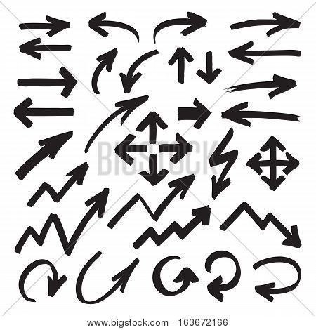 Set of marker arrows, pointers and arrowheads hand drawn by highlighter. Black felt pen shapes isolated on white. Vector symbols in eps8.