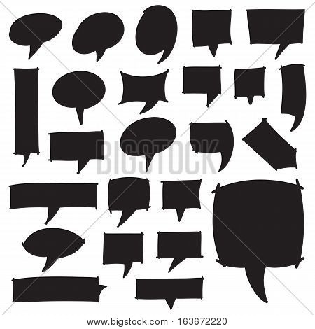 Set of marker speech bubbles, marks and pointers. Black felt pen shapes isolated on white. Hand drawn by highlighter vector symbols in eps8.