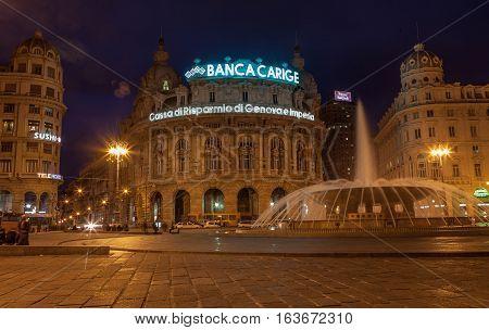 Genoa, Italy - March 26: Twilight photo of Piazza De Ferrari is the main square of Genoa on March 25, 2016 in Genoa, Italy.