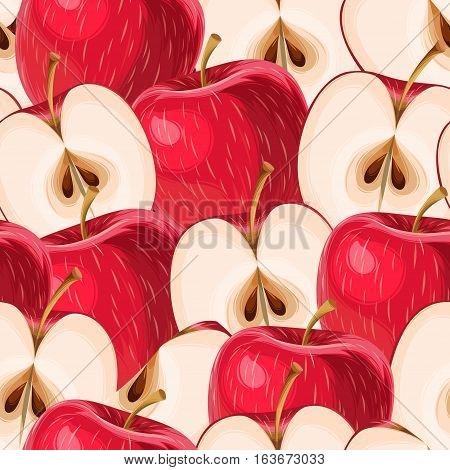 Red apples and apple slices vector seamless background