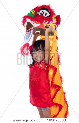 Smiling Asian Chinese Little Girl With Lion Dance Costume