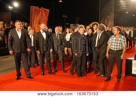 ANTALYA/TURKEY-OCTOBER 18: Celebrities and famous Turkish Film Stars on the Antalya Golden Orange Film Festival's Red Carpet. October 18, 2014-Antalya/Turkey