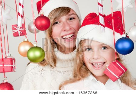 Happy sisters at Christmas time