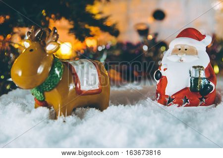 Santa Claus And Reindeer Merry Christmas