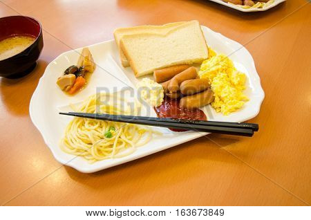 Breakfast Food Japanese Style in Hotel Hiroshma Japan
