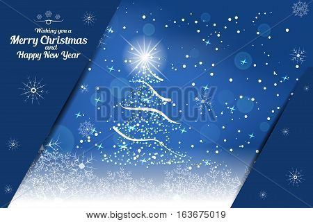Vector illustration of empty greetings card for Merry Christmas and Happy New Year on the abstract blue background with christmas tree snowfall snowflakes and pockets for insert.