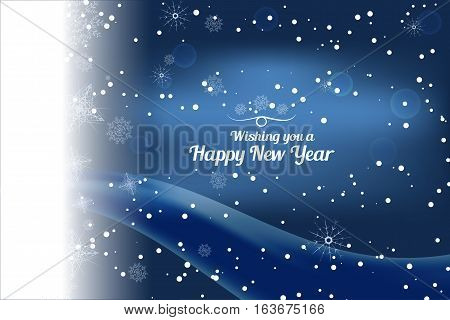 Vector Wishing you a Happy New Year abstract dark blue background with snow on the left wave and snowflakes.