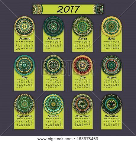 Calendar 2017. Vintage decorative colorful elements. Ornamental floral oriental pattern vector illustration. Islam Arabic Indian turkish pakistan chinese ottoman motifs