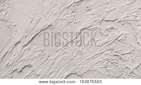 White Plastered Wall Fragment With Brushstrokes Handmade Abstract Pattern Background Texture