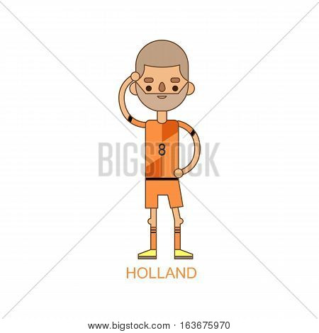 National Euro Cup holland soccer football player activity match vector illustration. World game captain leader in uniform. Sport men isolated on white background.