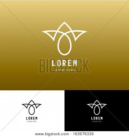 Vector monogram icon and logo design template in outline style, abstract emblem. Use for boutique, beauty salon, cosmetics, hotel, restaurant, spa, etc