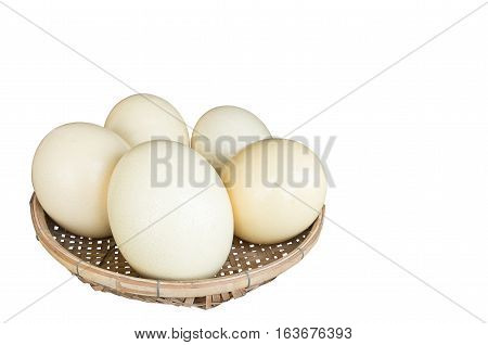 Isolated of Ostrich eggs in the basket