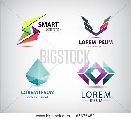Vector set of abstract logos, company icons isolated. Geometric, dual, crystal signs