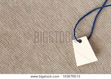 Beige Denim Texture With Blank Price Tag Horizontal Direction Threads
