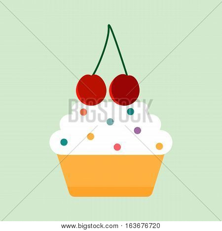 Teal birthday cupcake with butter cream icing isolated. Vector illustration frosted sprinkles party celebration food. Decorated snack muffin dessert.