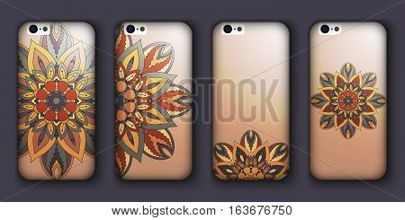 Phone Case Design Set. Vintage Decorative Elements. Hand Drawn Background. Islam, Arabic, Indian, Ot
