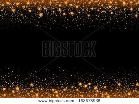 Glittering gold stars and trail of sparkling particles. Illustration with glitter top and bottom part and shining gold stars and gold glittering and sparkling dust.