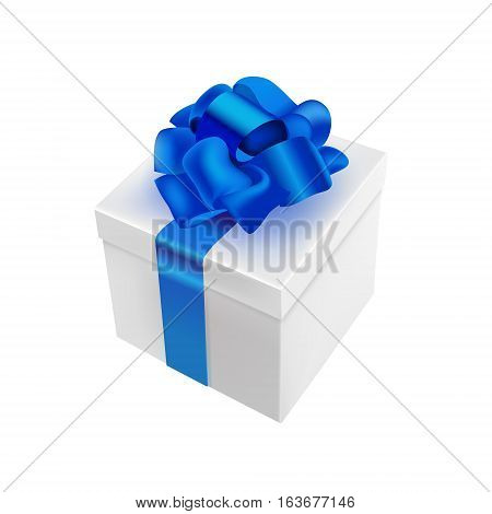 Vector 3d realistic present illustration. White box with blue bow and ribbon. Isolated on white background. Use for Christmas, New Year and other holidays design.