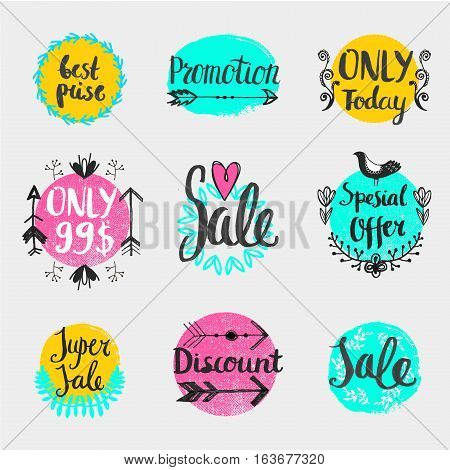 Vector handwritten calligraphy sale set Special Offer, only today, best price, promotion, discount, etc. Lettering collection for cards, advertising posters with hand drawn swirls, floral elements.