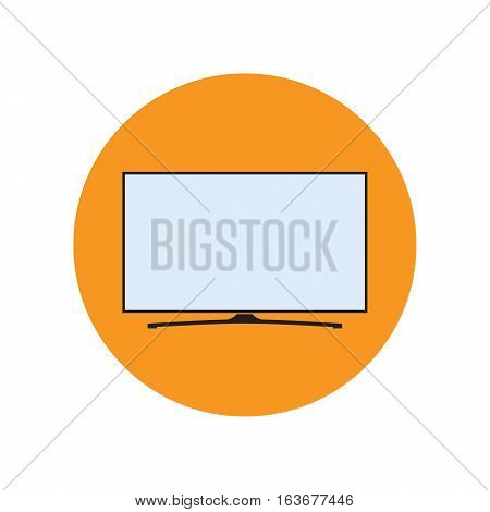 LED smart TV icon in flat style. TV symbol in an orange circle. Vector eps8 illustration.