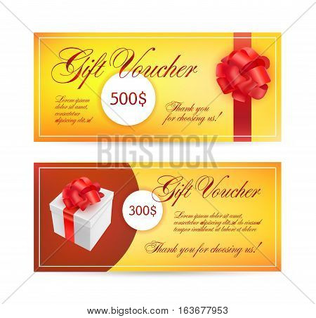 Voucher templates with red bow ribbons. design usable for gift coupon, voucher, invitation, certificate, diploma, ticket etc. Vector