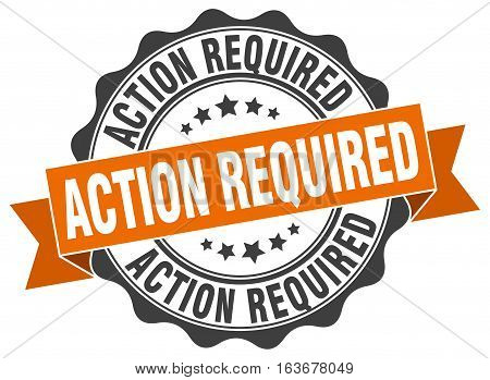 action required. stamp. sign. seal. round. retro. ribbon
