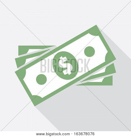 Dollar banknote in stack. Flat icon. USA currency note symbol. American bucks vector pictogram. Greenback stylized eps8 illustration.