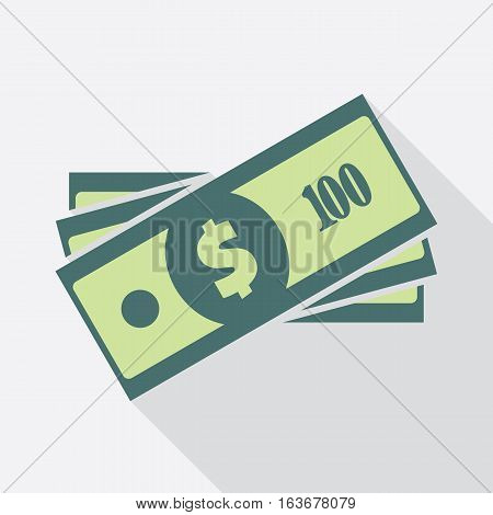 Dollar banknotes stack. Flat icon. American currency note symbol. One hundred USA dollars vector pictogram. Greenback stylized eps8 illustration.