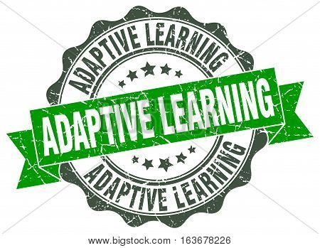 adaptive learning. stamp. sign. seal. round. retro. ribbon