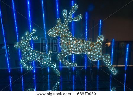 BANGKOK THAILAND - DECEMBER 07 : Christmas decorated with deer for Merry Christmas & Happy New Year 2014 at Peninsula plaza on December 29 2013 in Bangkok Thailand.