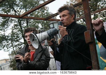 Moscow, Russia - August 22, 2010. Singer Michael Borzykin at the rally in defense of Khimki forest, Pushkin square