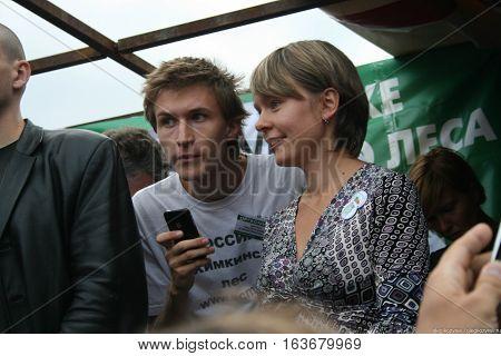 Moscow, Russia - August 22, 2010. Politics Yevgenia Chirikova and Yaroslav Nikitenko at the rally in defense of Khimki forest, Pushkin square
