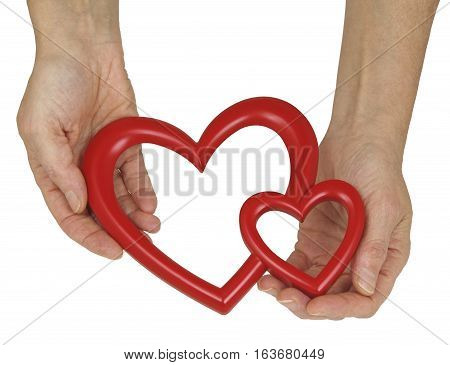 Will you be my Valentine and fill the hole in my heart - female hands holding an empty double heart shaped frame isolated on a white background