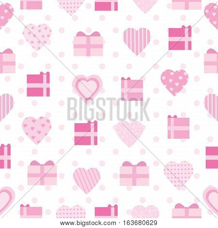 Seamless background of Valentine illustration with pink love shape and gift on polka dot background suitable for Valentine's day scrap paper, wallpaper and postcard