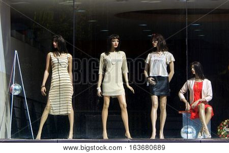 HYDERABAD,INDIA-DECEMBER 24:Mannequins dressed in latest fashion kept in front of retail clothes store or shop on December 24,2016 in Hyderabad,India