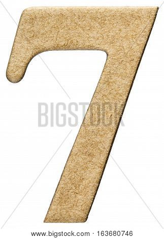 7, Seven, Numeral From Cardboard, Isolated On White Background