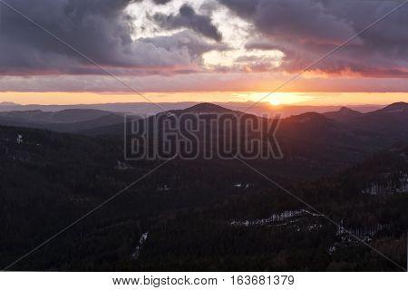Mountain sunset landscape in winter, Czech Republic