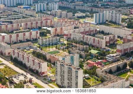 Top view new districts the Nizhnevartovsk city in summer