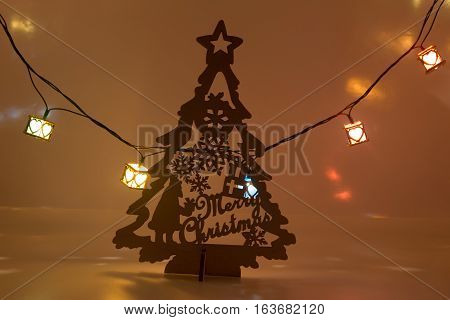 Merry Christmas Tree With Light Bulb